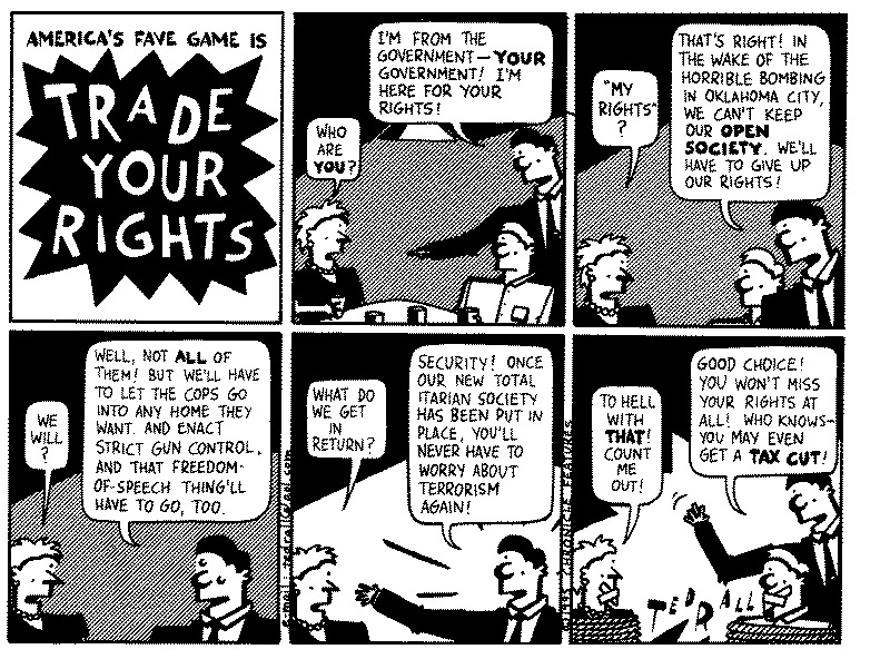 Funny government ted rall cartoon, July 05, 1995