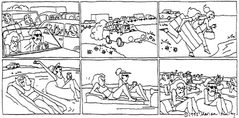 Funny traffic beach ocean  cartoon, September 20, 1995
