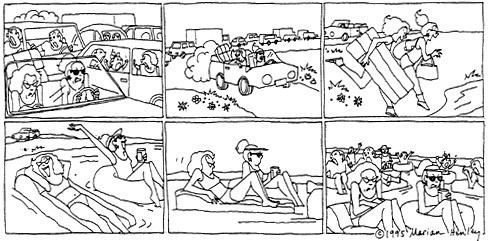 Funny traffic beach ocean cartoon, September 20, 1995