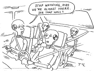 Funny driving crash test  cartoon, December 06, 1995