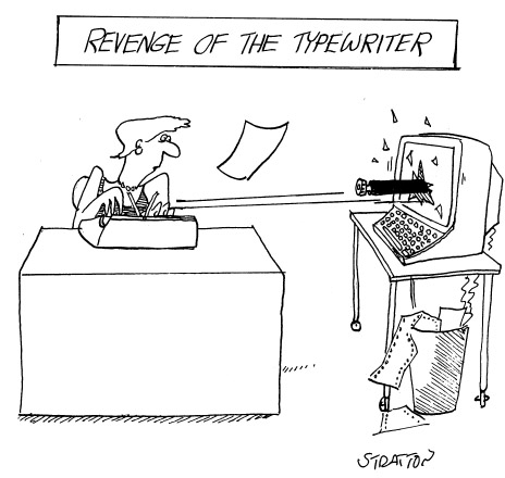 Funny typewriter computers tom  cartoon, February 26, 1997