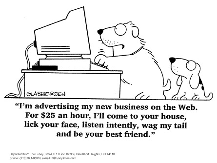 Funny work Glasbergen dogs  cartoon, April 02, 1997