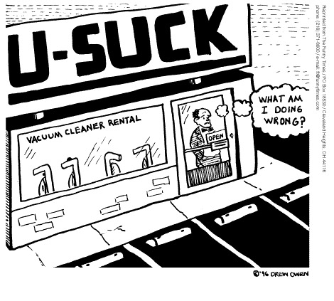 Funny business ads advertising  cartoon, April 23, 1997