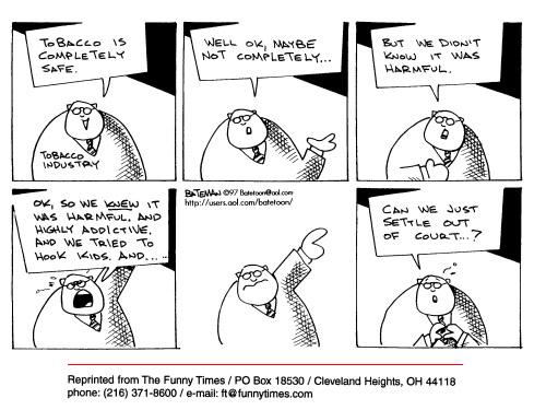 Funny industry bateman tobacco  cartoon, July 02, 1997