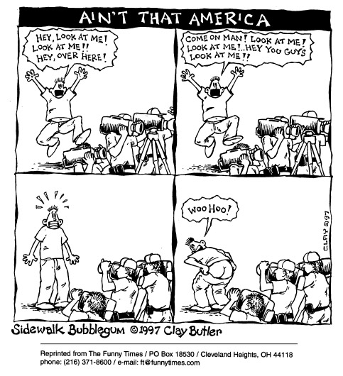 Funny news media clay  cartoon, August 27, 1997