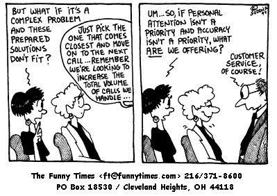 Funny service much customer  cartoon, January 14, 1998