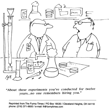 Funny science finance experiment cartoon, April 29, 1998