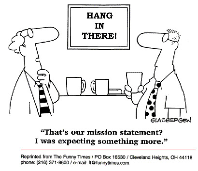 Funny office mission statement  cartoon, May 20, 1998