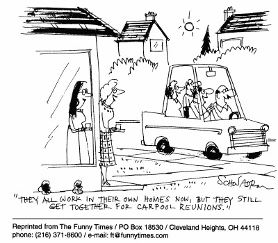 Funny Schwadron telecommute carpool  cartoon, February 10, 1999