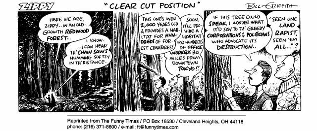 Funny Bill organic forest  cartoon, February 17, 1999