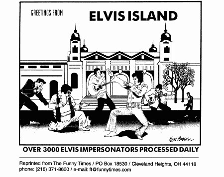 Funny new clothes island  cartoon, August 25, 1999
