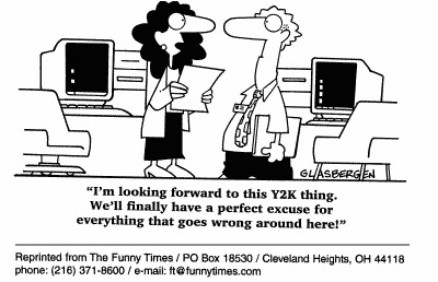 Funny Glasbergen technology y2k  cartoon, October 13, 1999