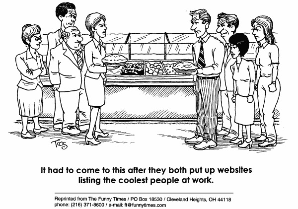 Funny computer blogging work  cartoon, December 15, 1999