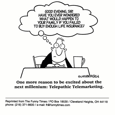 Funny Glasbergen media telemarketing  cartoon, December 29, 1999