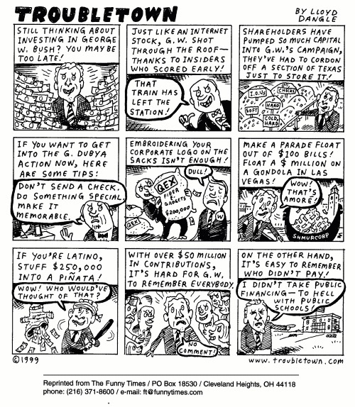 Funny bush computer sex  cartoon, January 26, 2000
