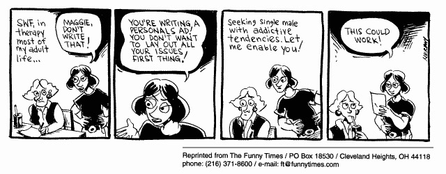 Funny dating personals advert  cartoon, March 29, 2000
