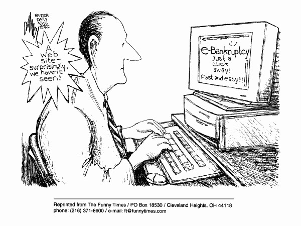 Funny bankruptcy website  cartoon, April 05, 2000