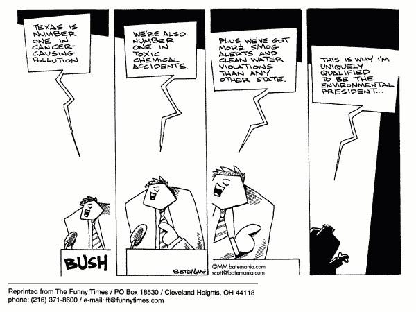 Funny bush george environment  cartoon, July 05, 2000