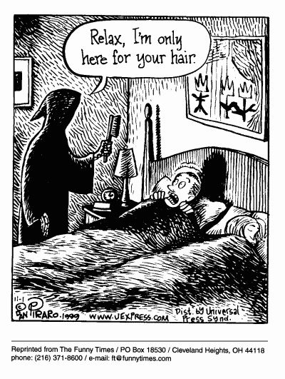 Funny death dan piraro cartoon, August 16, 2000