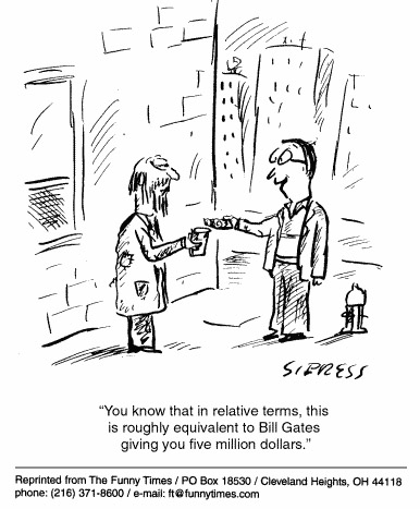 Funny Sipress Bill money  cartoon, August 23, 2000