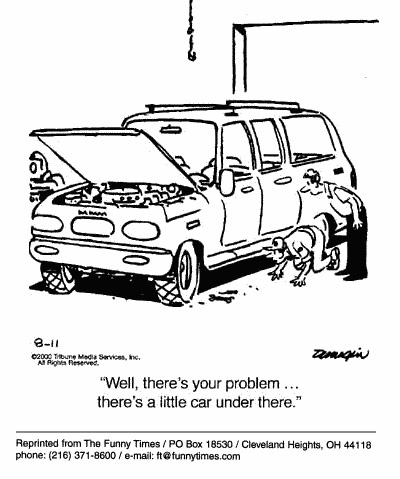 Funny suv technology problem  cartoon, September 20, 2000