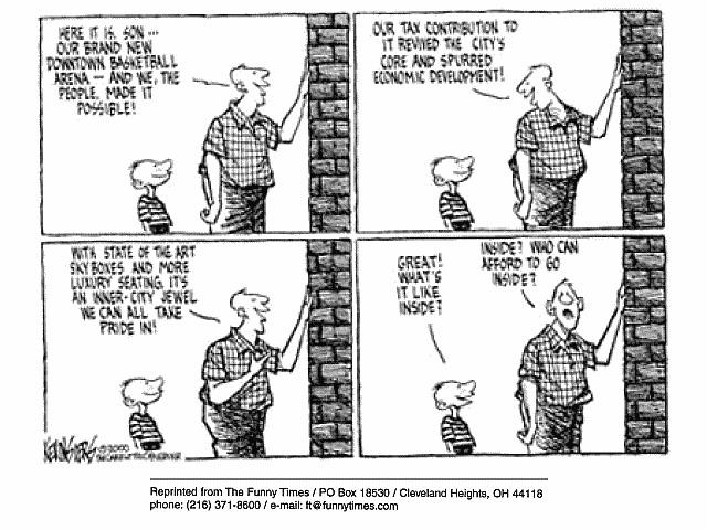 Funny taxes sports public  cartoon, October 18, 2000