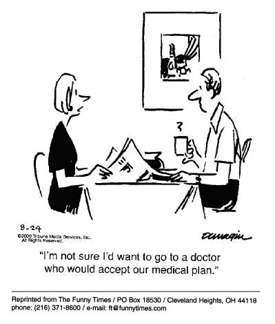 Funny doctor insurance therapy  cartoon, November 08, 2000
