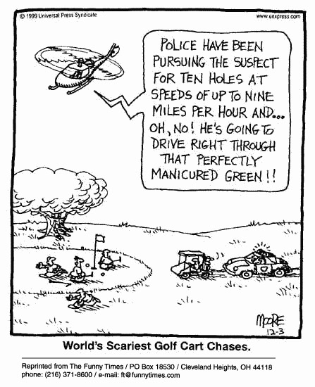 Funny police funny golf  cartoon, November 22, 2000
