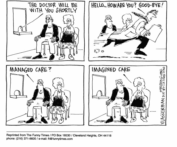 Funny health writing management  cartoon, December 27, 2000