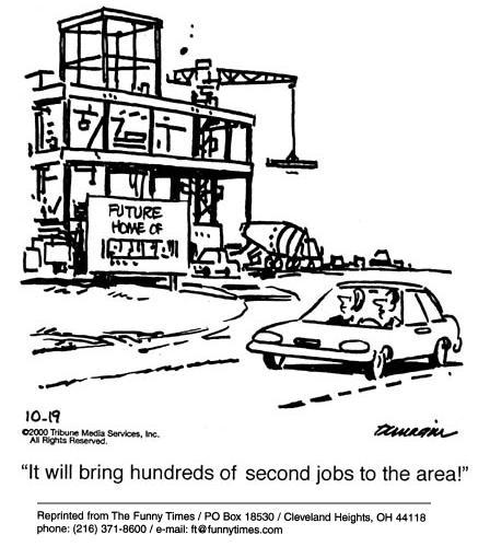 Funny dunagin second jobs  cartoon, February 21, 2001