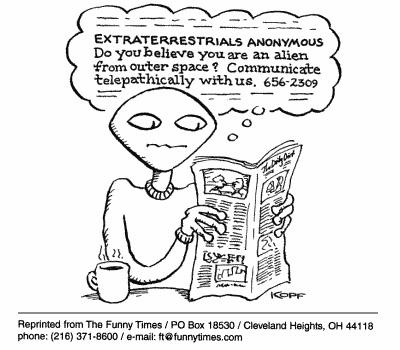 Funny kopf aliens communication  cartoon, March 14, 2001