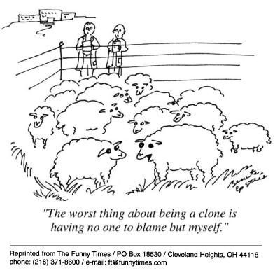 Funny science sheep school cartoon, August 01, 2001