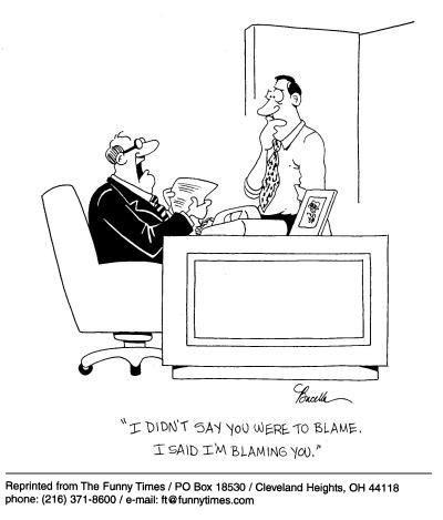 Funny work office interview  cartoon, October 17, 2001