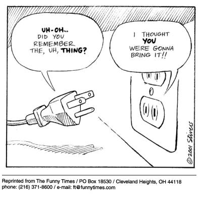 Funny stivers electrical outlet  cartoon, January 31, 2002