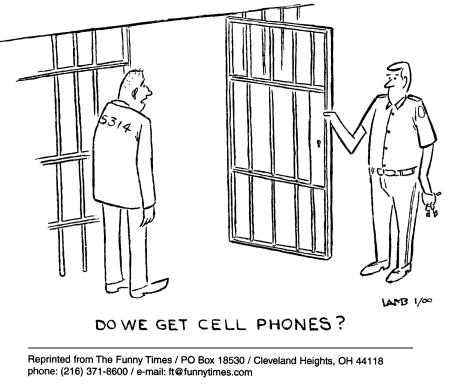 Funny cell phones prison  cartoon, August 14, 2002