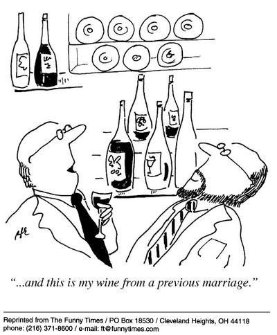 Funny marriage life wine  cartoon, January 01, 2003