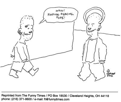 Funny piercing norman radical  cartoon, February 12, 2003