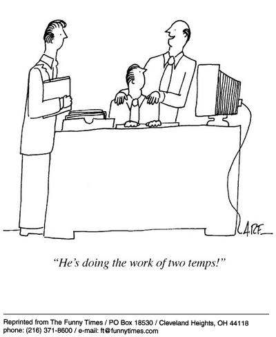 Funny work office temp cartoon, March 12, 2003