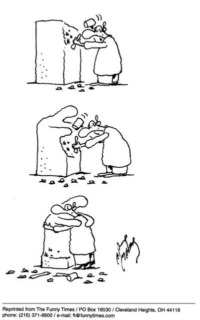 Funny love sculpture hug  cartoon, March 26, 2003