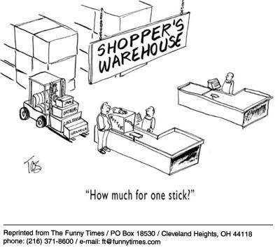 Funny checkout service shopping cartoon, June 18, 2003
