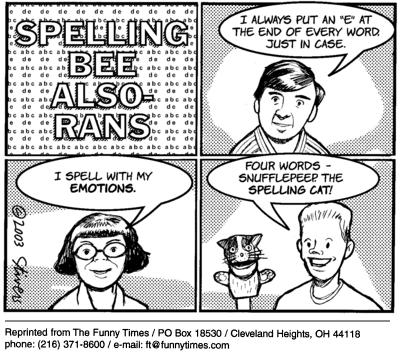 Funny stivers Mark spelling  cartoon, March 17, 2004