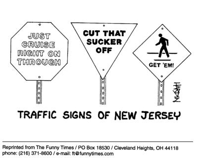 Funny traffic Patrick Hardin  cartoon, April 14, 2004