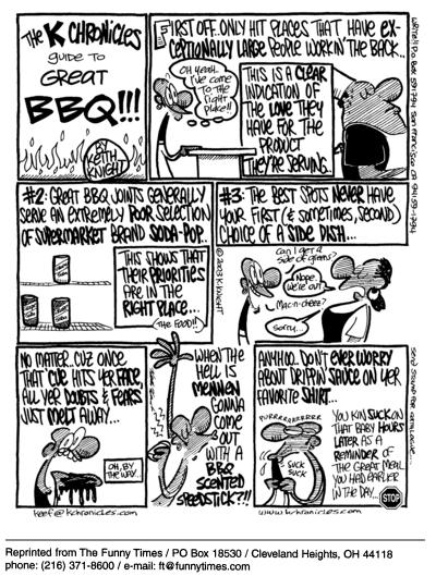 Funny Keith Knight restaurant  cartoon, June 30, 2004