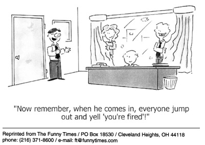 Funny work surprise job  cartoon, August 25, 2004