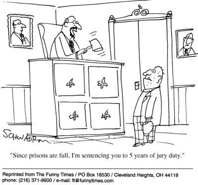 Funny judge Harley Schwadron  cartoon, April 27, 2005