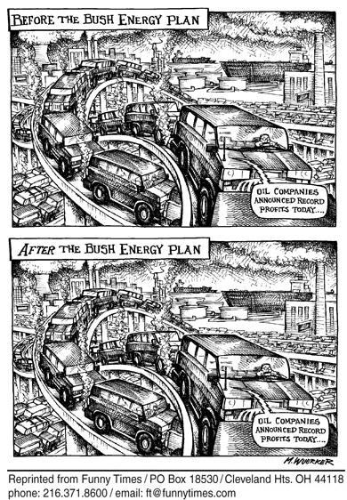 Funny bush george energy  cartoon, January 19, 2006