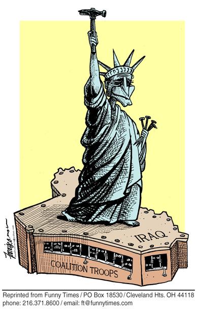 Funny bush george iraq  cartoon, February 08, 2006