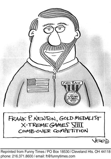 Funny surreal combover brad  cartoon, February 15, 2006