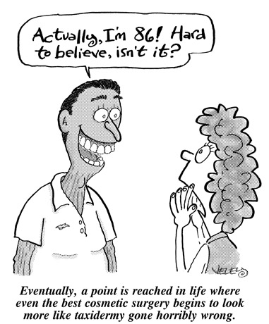Funny elderly cosmetic surgery  cartoon, March 08, 2006