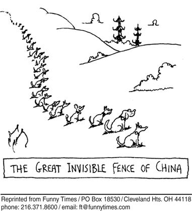 Funny dogs wall china  cartoon, October 18, 2006